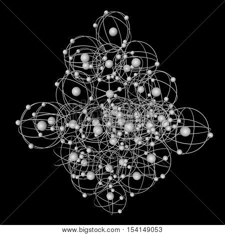 Image of simple molecules on a black background. 3d rendering.
