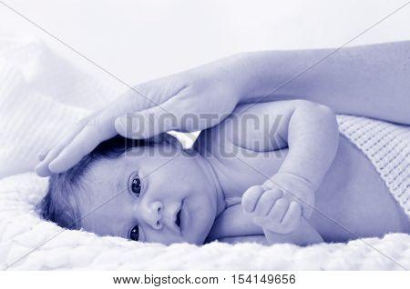 Mother Touch Newborn Baby - Portrait