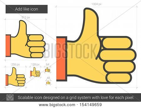 Add like vector line icon isolated on white background. Add like line icon for infographic, website or app. Scalable icon designed on a grid system.