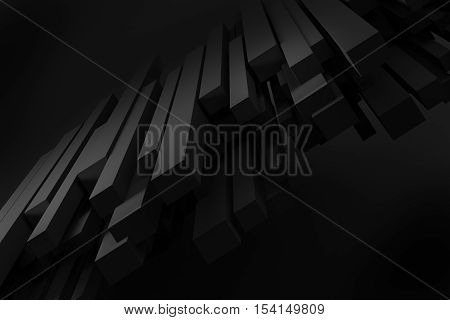 black stack line box chaos levitation on black background 3d rendering
