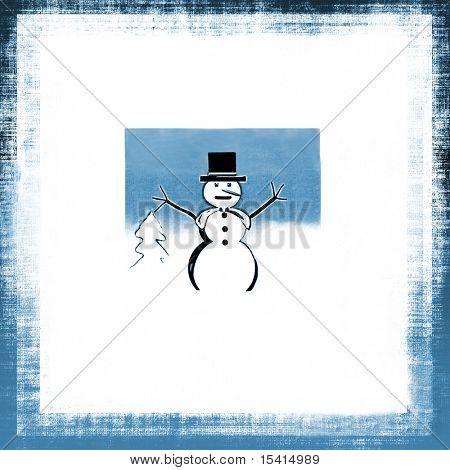 Snowman Grunge Background