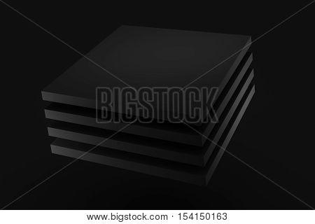 black stack box cloth fabric levitation on black background 3d rendering