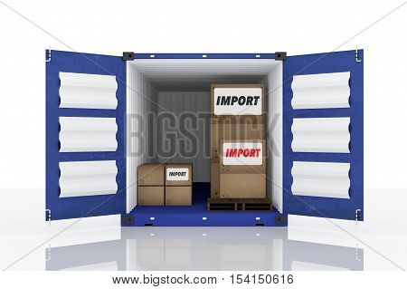 3D rendering : illustration of front side open blue container with cardboard boxes inside the container.business import text.white isolate background.clipping path included