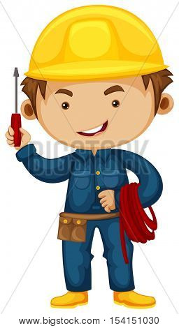 Electrician with screwdriver and helmet illustration