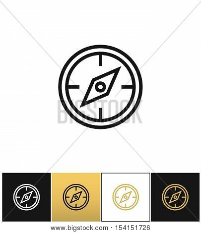 Compass symbol or discovery navigation vector icon. Compass symbol or discovery navigation program on black, white and gold background
