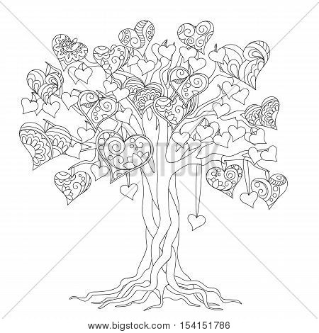 hand drawn decorated tree of love in boho ethnic style. Image for antistress adult coloring book decorate bags tunics dress. eps 10.