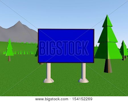 Image billboard (screen) on the background of mountains and trees. 3d render.