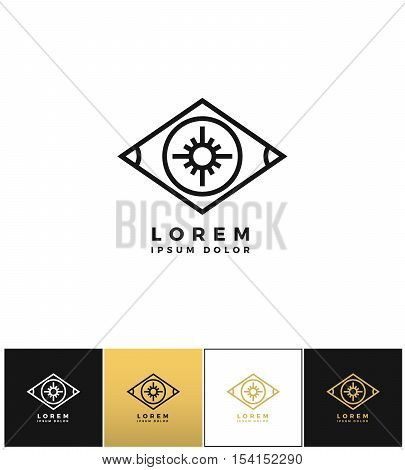 Eye vector logo or looking control icon. Eye vector logo or looking control program on black, white and gold background