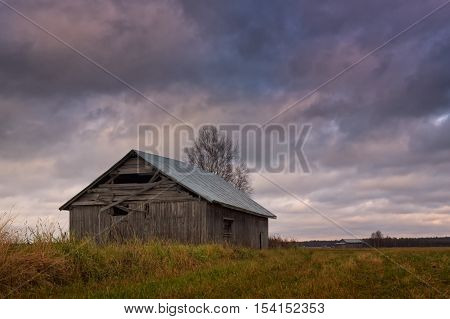 Old Barn House Under The Autumn Skies