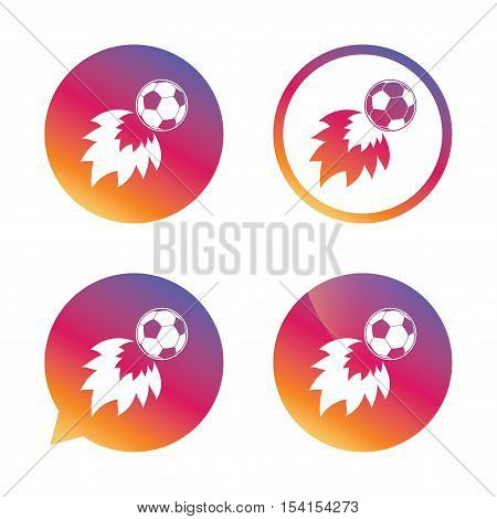 Football fireball sign icon. Soccer Sport symbol. Gradient buttons with flat icon. Speech bubble sign. Vector