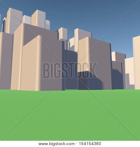 City view. Background image. 3d render. modern city.