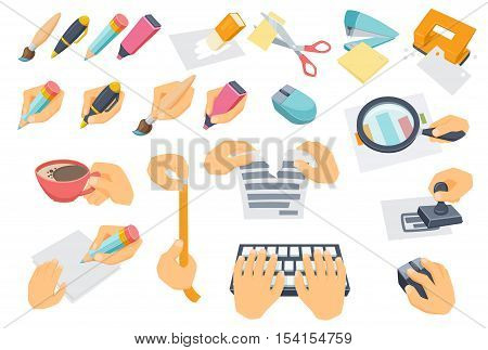 Office process set. Process of searching, typing on keyboard, put stamp, tear paper, measuring, coffee break, cut with scissors. Use mouse, punch, stapler, eraser. Hand with pen, pencil, brush, marker