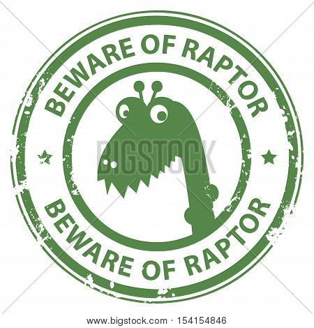 Grunge rubber stamp with Raptor and the word Beware of Raptor written inside the stamp, vector illustration