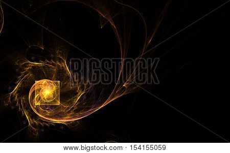 fractal abstract illustration yellow square with twists inside and yellow spiral up and leaving unclear shaggy curls around on a black background