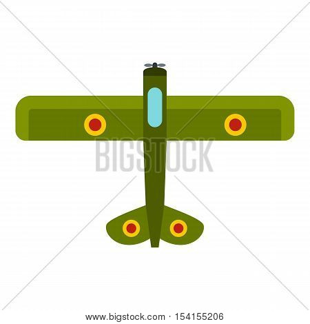 Army biplane icon. Flat illustration of army biplane vector icon for web