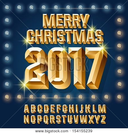 Vector light up burlesque Christmas 2017 greeting card with set of letters, symbols and numbers. File contains graphic styles