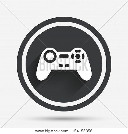 Joystick sign icon. Video game symbol. Circle flat button with shadow and border. Vector