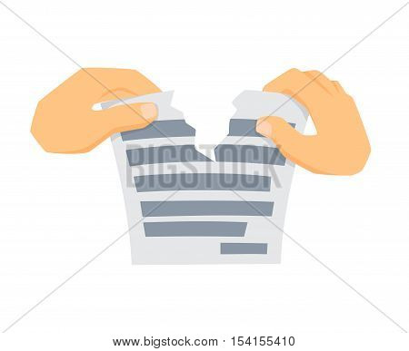 Hands tears paper. Process of tearing paper. Office work tool. Hands holding and rip paper cartoon vector. Working in office, education, business concept. Hands is tearing paper.