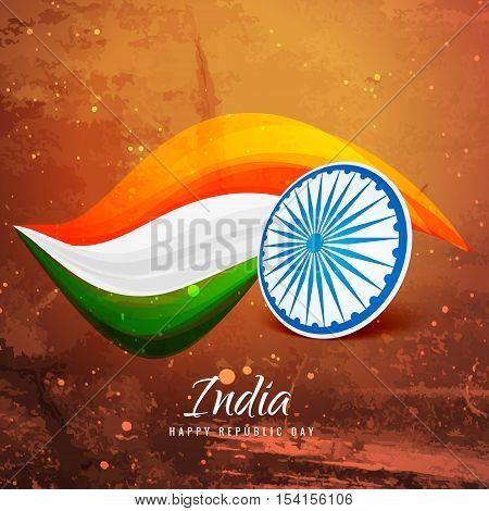 Old Paper Indian Flag Vector Design Illustration