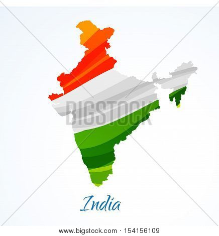 Map Of India With Tricolor Vector Design Illustration