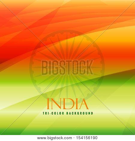 Tricolor Background Of India Vector Design Illustration