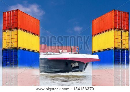 Container ship for the import and export of container box in the water. Right and Left picture stacked sea containers of different colors in the background a blue sky.