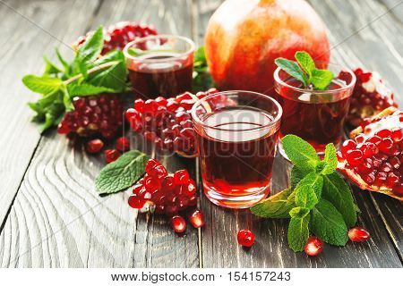 Pomegranate Juice With Fresh Fruits And Mint