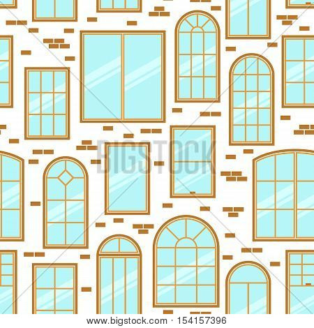 Vector seamless pattern of different types of windows flat style. Architecture frame silhouette isolated. Building element illustration. Home icon design