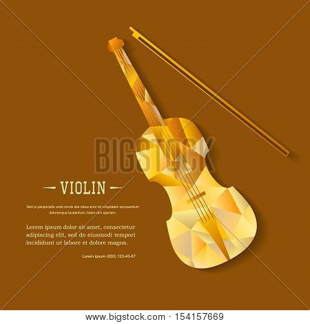 Music magazine layout flyer invitation violin design. Vector musical ornament illustration concept. Art instrument, poster, book, abstract element. Decorative triangular greeting card