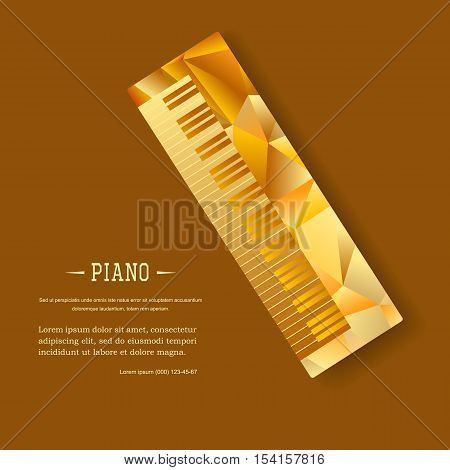 Music magazine layout flyer invitation piano design. Vector musical ornament illustration concept. Art instrument, poster, book, abstract element. Decorative triangular greeting card