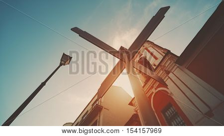 Waymark mock up on street of summer city with clear blue sky near orthodox church and lantern Russia Moscow