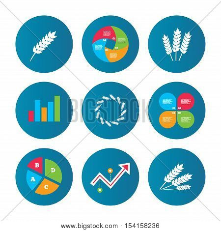 Business pie chart. Growth curve. Presentation buttons. Agricultural icons. Gluten free or No gluten signs. Wreath of Wheat corn symbol. Data analysis. Vector