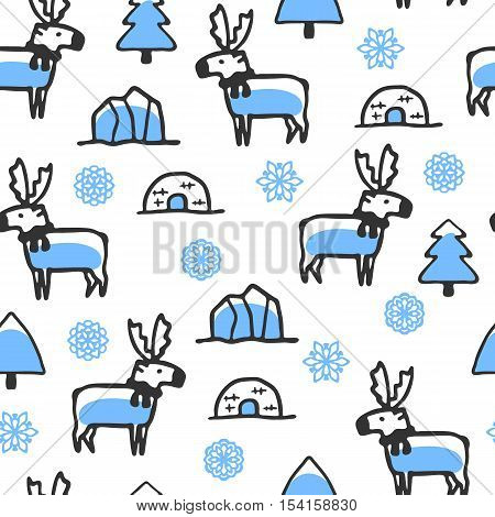 Seamless pattern with cute doodle reindeer. North animal with snowflakes, igloo and iceberg. Funny deer wear scarf