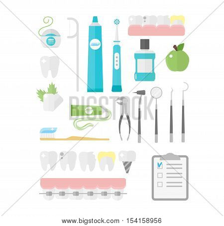 Dental icons vector set mouthwash collection. Medical forceps tools supplies orthopedic dental chair dental icons. Toothbrush hygiene implant health dental icons. Health care equipment.