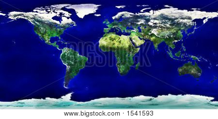 High Resolution Colored World Map Of Planet Earth