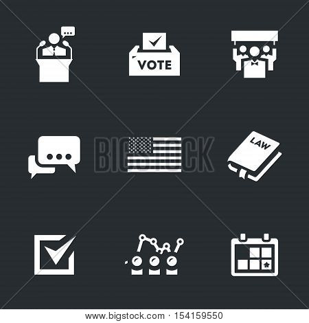 Candidate, ballot box, voters, debate, usa flag, constitution, selection, rating, calendar.