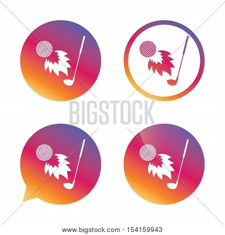 Golf fireball with club sign icon. Sport symbol. Gradient buttons with flat icon. Speech bubble sign. Vector