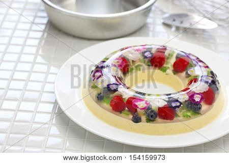 christmas wreath bavarois, homemade jelly dessert
