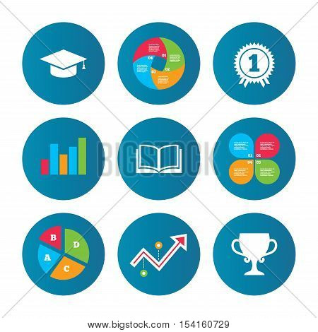 Business pie chart. Growth curve. Presentation buttons. Graduation icons. Graduation student cap sign. Education book symbol. First place award. Winners cup. Data analysis. Vector