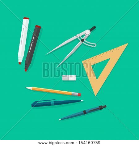 Education items, school study icons set, objects isolated, pen, pencils, eraser, triangle rulers, marker, biro pen, compass divider, flat style top view vector illustration