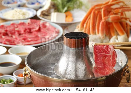 Hot Pot Of Fresh Beef And Crab In Thai Style