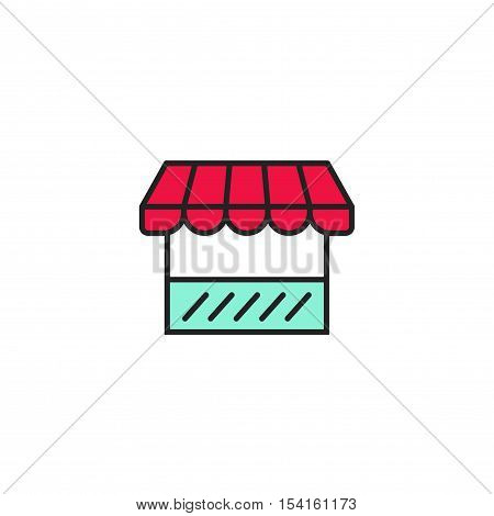 Shop icon vector illustration, storefront symbol line outline style, store icon isolated on white background
