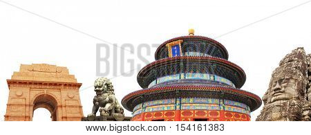 Famous monuments of Asia - Temple of Heaven in Beijing; lion statue in Forbidden Sity, India Gate memorial in New Delhi, India, face in Prasat Bayon, Angkor Wat, Cambodia. Isolated on white background