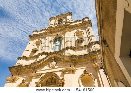 The facade of the Santa Maria La Nova church in the baroque town of Sicli in southern Sicily Italy