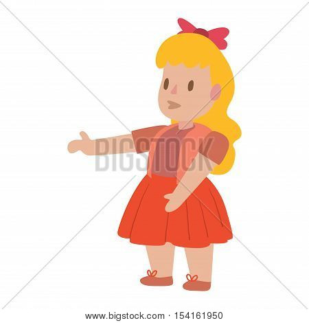 Cute girl doll character for game design vector illustration. Funny childhood play baby doll girl toy character like human. Handmade plastic doll toys beautiful colorful cartoon charcater girl.