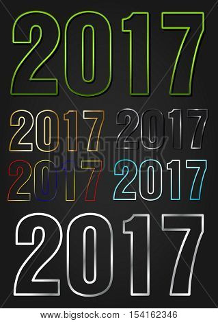2017 Year vector typography different styles collection