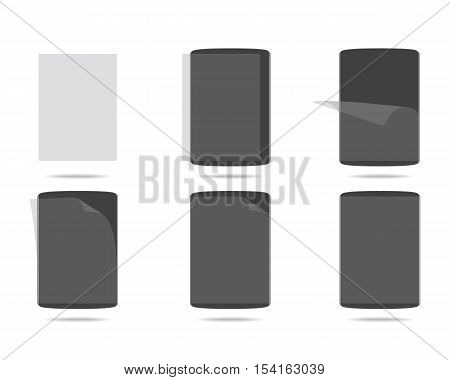 apply screen protector tablet PC vector illustration