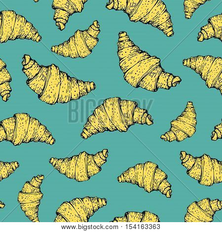 Seamless nature background with croissant. Fresh organic food. Croissant vintage pattern.