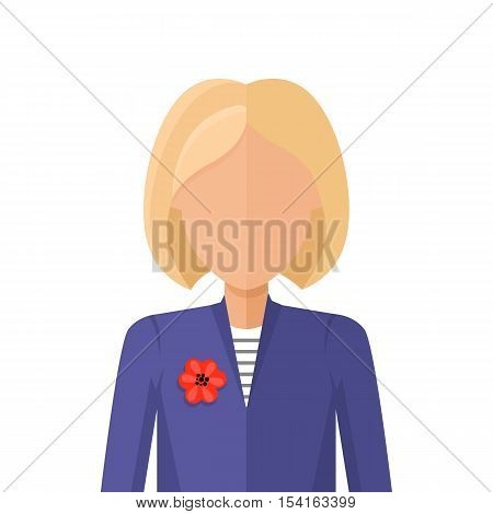 Woman character avatar vector in flat style design. Blond female personage portrait icon. Illustration for identity in Internet, concepts, app pictograms, infographic. Isolated on white background.