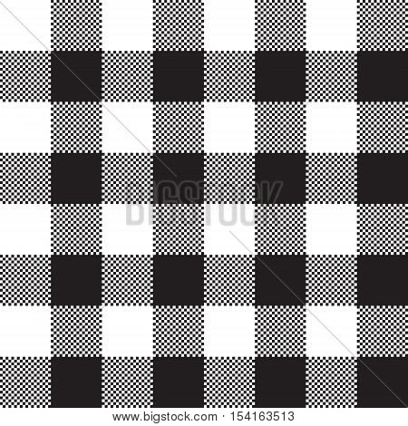 Black white check pattern seamless fabric texture. Vector illustration.
